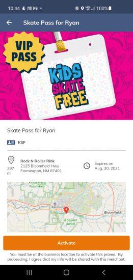 Kids Skate Free Pass